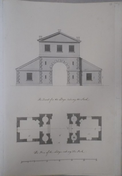 Front and plan of the lodge entering the Park (Kiveton House)