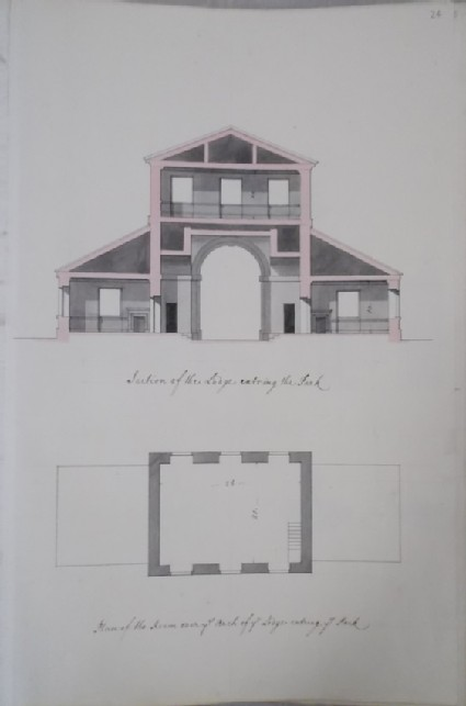 Section of the Lodge entering the park and plan of the room over the Arch of the Lodge (Kiveton House)