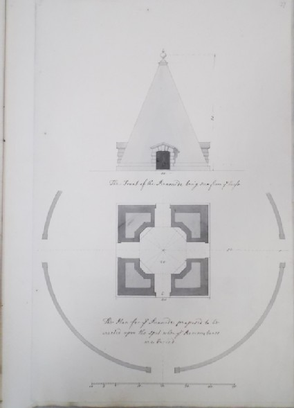 Front and plan of the Piramide (Pyramid)
