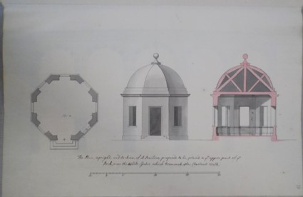 Plan, elevation and section of a pavilion