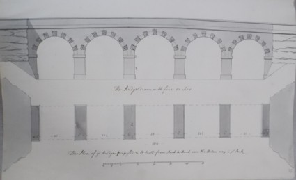 Bridge drawn with five arches and its plan