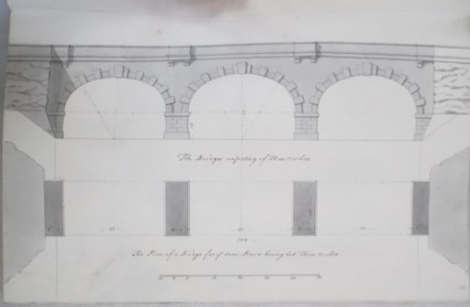 Bridge consisting of three arches and its plan (Kiveton House)