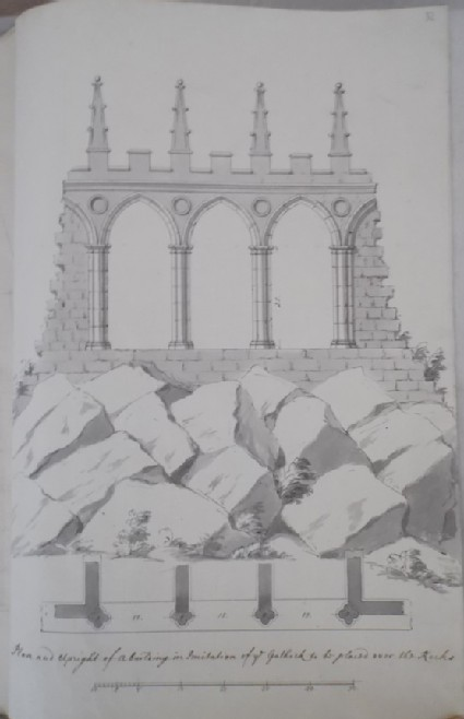 Plan and elevation of a Gothic building