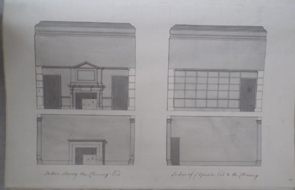 Section showing the Chimney ends and section of the opposite end to the chimney