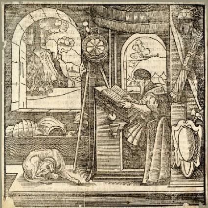 Flavius Josephus in his studio with a dog