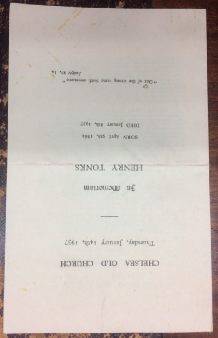 Programme card of Henry Tonks funeral service at Chelsea Old Church, 14 January 1937