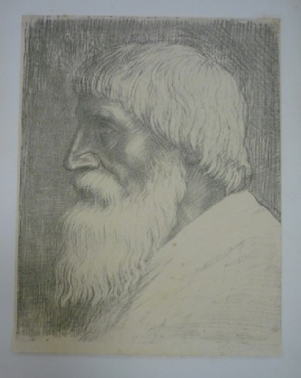 Portrait of a bearded old man in profile looking to the left