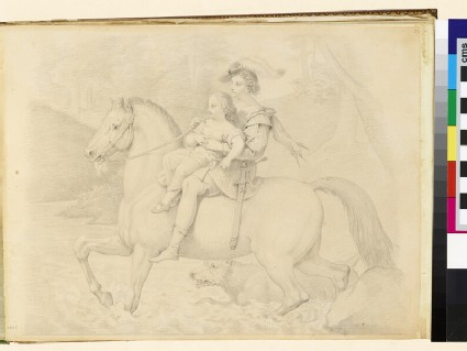 Man crossing a river on horseback with a child on his lap, possibly the 'Erlkönig'