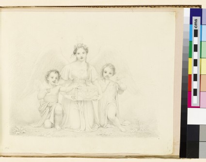 Kneeling angel between two cherubs