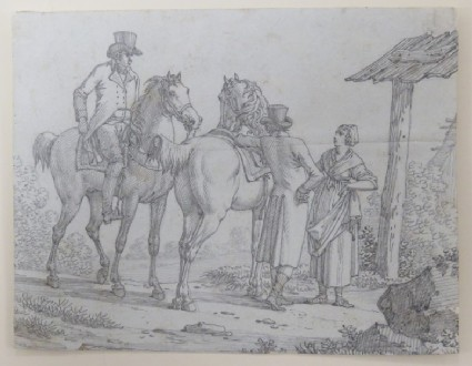 Two Gentlemen with Horses conversing with a Lady in a Country Setting