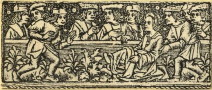 Recto: A group of several men dancing before or sitting behind a barrier<br />Verso: A floral ornament