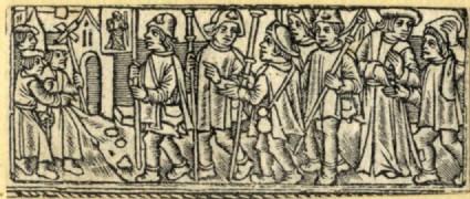 Recto: A group of pilgrims to Santiago de Compostela<br />Verso: Unidentified subject