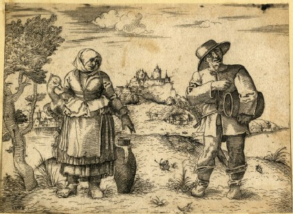 Couple of German or Dutch peasants standing in a nothern landscape