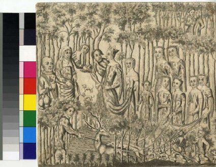 The Burgundian King and Queen walking in the park, a servant killing a deer