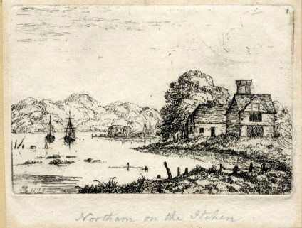 Cottage on a river or the sea, in the background two ships, a village and some hills