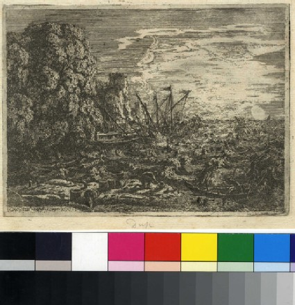The tempest: three ships about to run aground on a woody cliff, three sailors in a small boat, two fortified towers in the background
