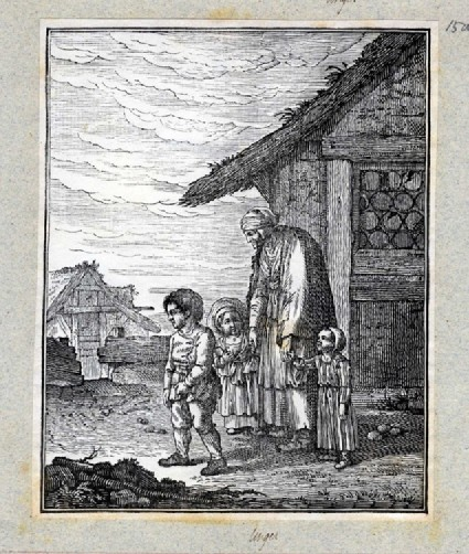 Three young children carrying books walk away from a cottage to left accompanied by an elderly woman dressed in ragged clothes, with fence and cottage in the background