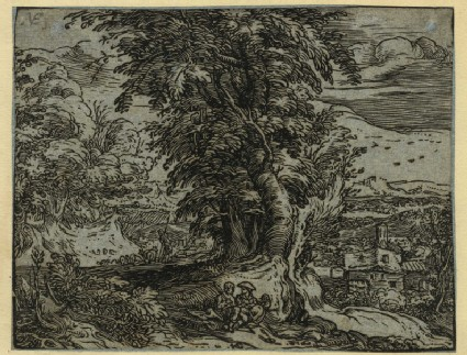 Landscape with trees and a shepherd couple