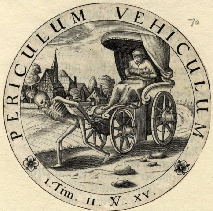 Emblem: woman in chariot drawn by a skeleton