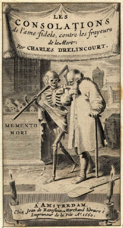Title-page of 'Les consolations': Death and an old man