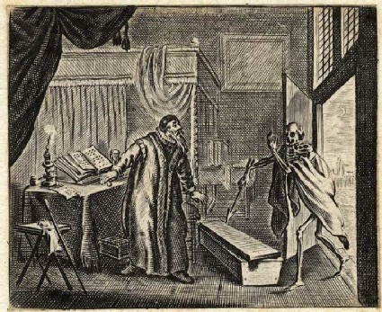 Death beckoning to an old man in his study