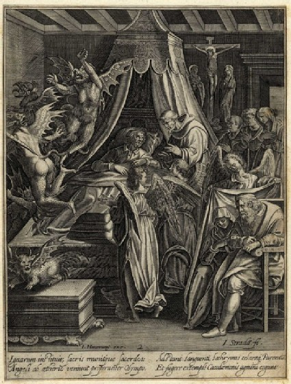 The penitent man visited by a priest and angels