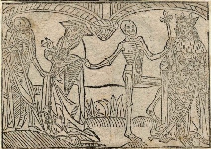 Recto: cardinal and king of The Dance of Death 