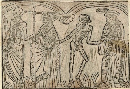 Recto: archbishop and knight of The Dance of Death 