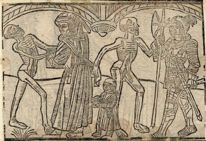 Recto: schoolmaster and soldier of The Dance of Death 