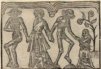 Recto: midwife and young girl of The Dance of Death 