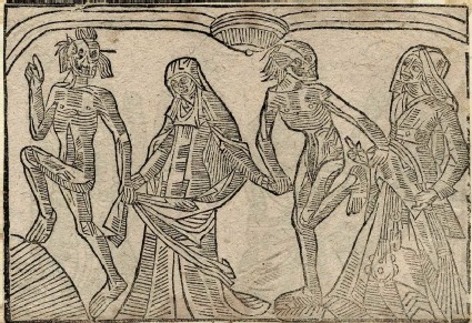 Recto: prioress and young woman of The Dance of Death 