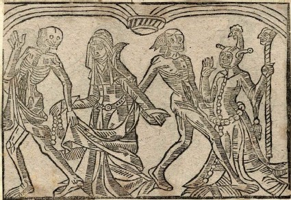 Recto: bigot woman and a fool of The Dance of Death 