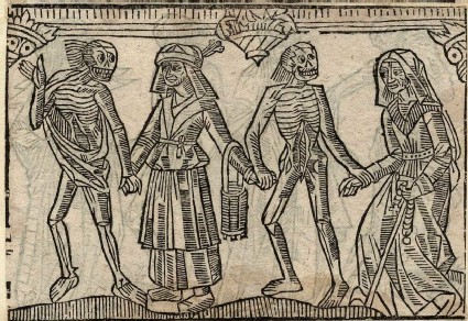 Recto: peasant woman and old woman of the Dance of Death 