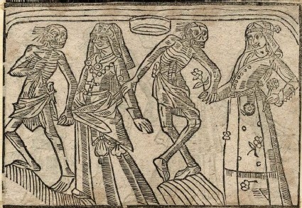 Recto: resales woman and suitoress of the Dance of Death 