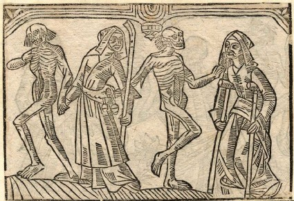 Recto: shepherdess and a crippled of the Dance of Death 