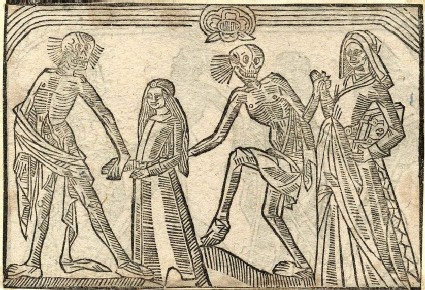 Recto: virgin and theologian of the Dance of Death 