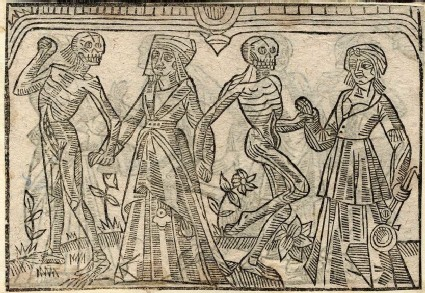 Recto: hospitable woman and wet-nurse of the Dance of Death 