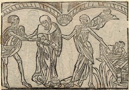 Recto: Franciscan monk and child of the Dance of Death <br />Verso: unidentified Dance of Death scene