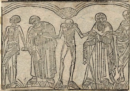 Recto: clerk and hermit of the Dance of Death <br />Verso: unidentified Dance of Death scene
