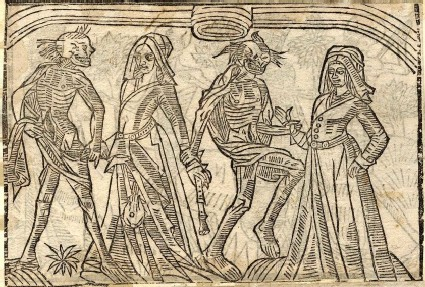 Recto: merchant's wife and bailiff's wife of the Dance of Death <br />Verso: unidentified Dance of Death scene