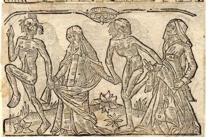 Recto: nun and witch of the Dance of Death <br />Verso: unidentified Dance of Death scene