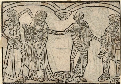 Recto: parish priest and peasant of the Dance of Death <br />Verso: unidentified Dance of Death scene