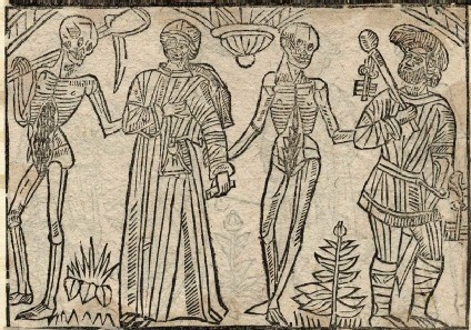 Recto: promoter and jailor of the Dance of Death <br />Verso: unidentified Dance of Death scene