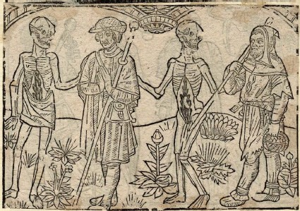 Recto: pilgrim and shepherd of the Dance of Death <br />Verso: unidentified Dance of Death scene