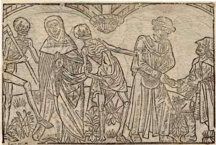 Recto: monk and usurer of the Dance of Death <br />Verso: unidentified Dance of Death scene