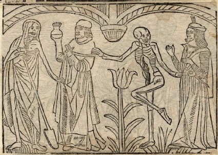 Recto: physician and suitor of the Dance of Death <br />Verso: unidentified Dance of Death scene