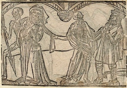 Recto: lawyer and minstrel of the Dance of Death <br />Verso: unidentified Dance of Death scene