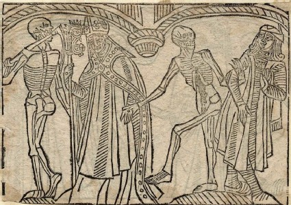 Recto: bishop and esquire of the Dance of Death <br />Verso: unidentified Dance of Death scene