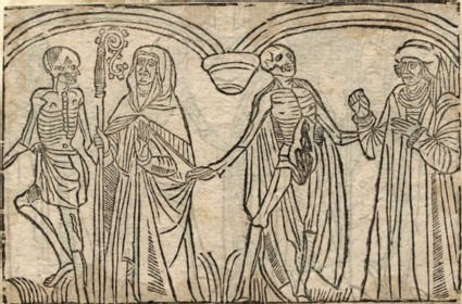 Recto: abbot and bailiff of the Dance of Death <br />Verso: unidentified Dance of Death scene