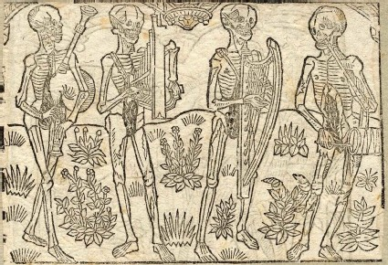 Recto: four musicians of The Dance of Death <br />Verso: unidentified Dance of Death scene